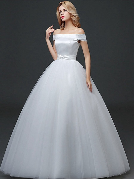 Ball Gown Wedding Dresses Off Shoulder Floor Length Lace Tulle Polyester Cap Sleeve Formal_2