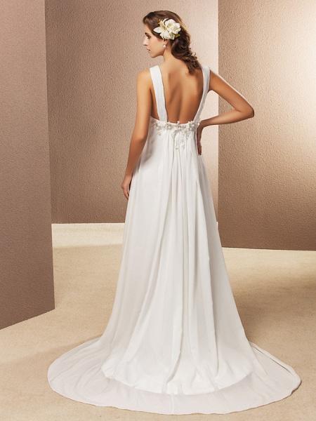 Sheath \ Column Wedding Dresses V Neck Court Train Chiffon Sleeveless See-Through_2