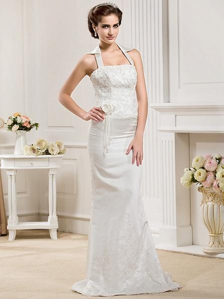Mermaid \ Trumpet Halter Neck Court Train Satin Sleeveless Wedding Dresses_7