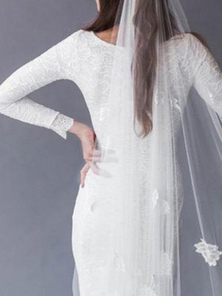 Mermaid \ Trumpet Wedding Dresses Jewel Neck Sweep \ Brush Train Lace Long Sleeve Sexy_4