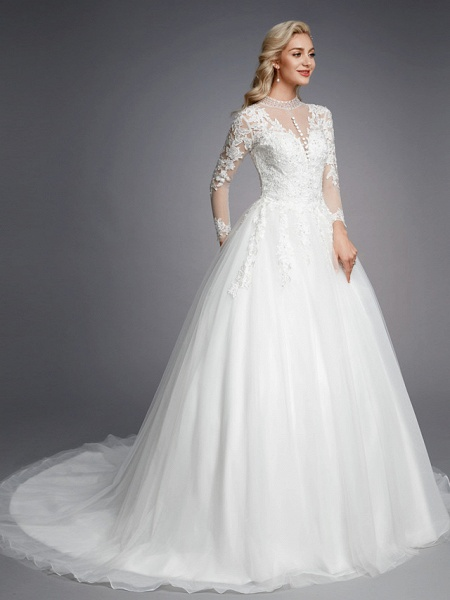 Ball Gown High Neck Court Train Lace Tulle Long Sleeve Romantic Plus Size Illusion Sleeve Wedding Dresses_3