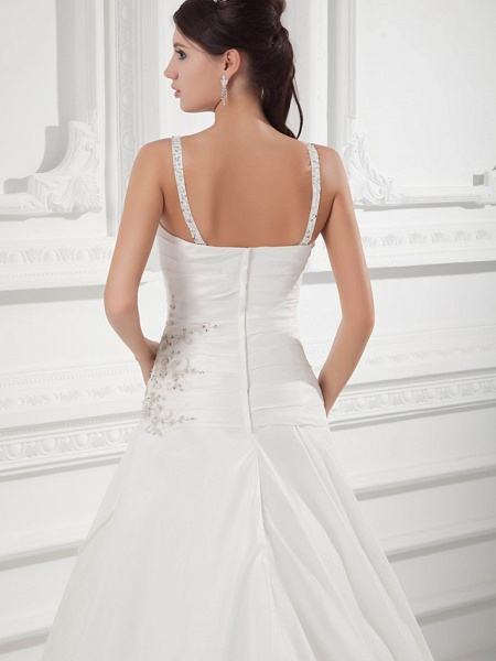 A-Line Square Neck Court Train Satin Taffeta Spaghetti Strap Wedding Dresses_5