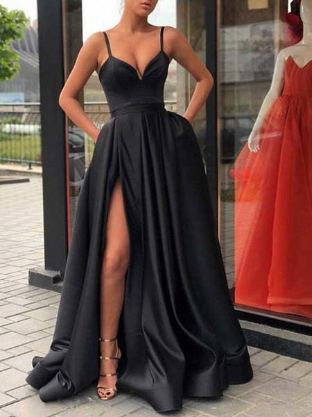 A-Line Sexy Red Quinceanera Formal Evening Dress V Neck Sleeveless Sweep \ Brush Train Jersey_2