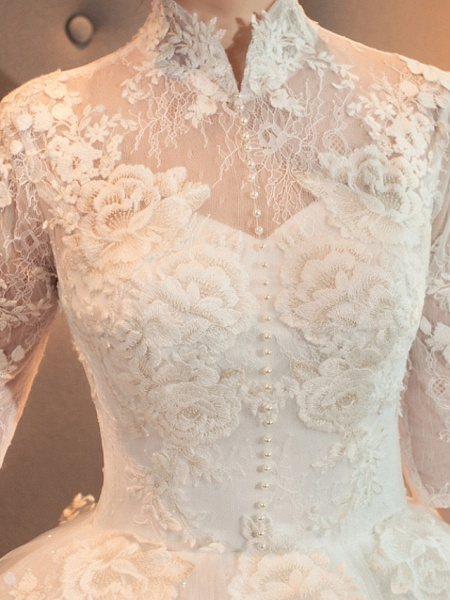 A-Line Wedding Dresses High Neck Court Train Lace Tulle Long Sleeve Casual Plus Size Illusion Sleeve_3