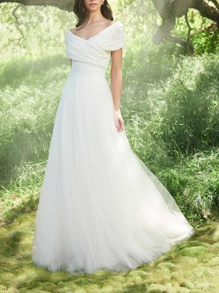 A-Line Wedding Dresses Off Shoulder Sweep \ Brush Train Tulle Short Sleeve Vintage Sexy Wedding Dress in Color Backless_4