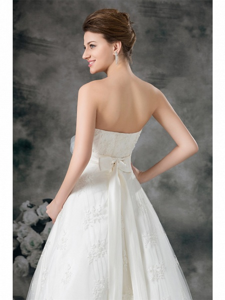 A-Line Sweetheart Neckline Court Train Lace Satin Strapless Wedding Dresses_6