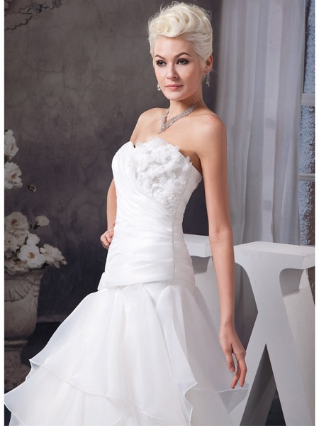 A-Line Sweetheart Neckline Floor Length Lace Organza Satin Strapless Wedding Dresses_4