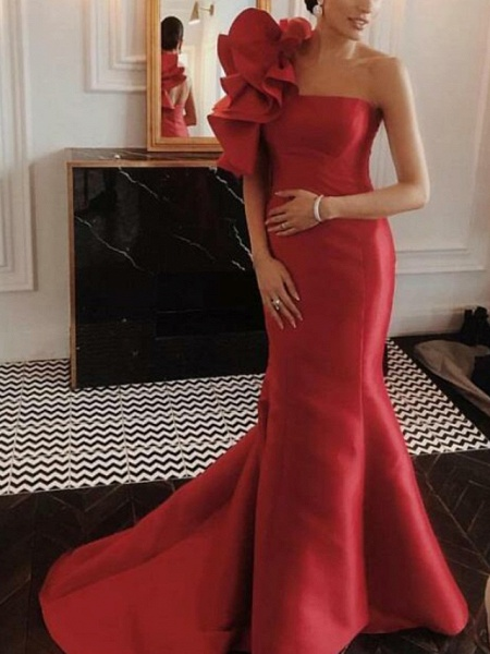 Mermaid \ Trumpet Floral Red Engagement Formal Evening Dress One Shoulder Sleeveless Court Train Satin_1