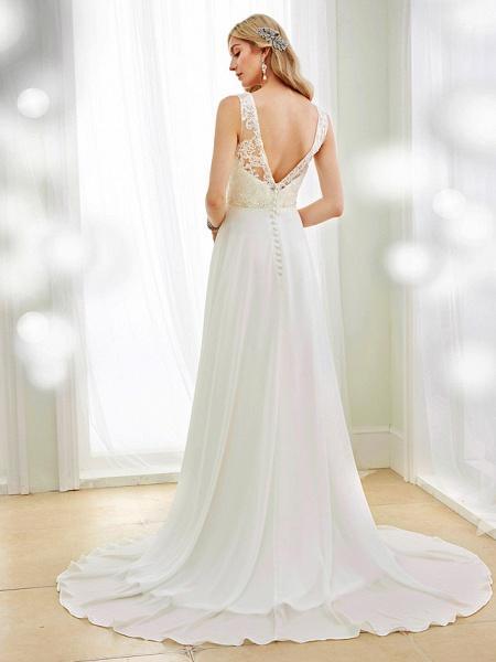A-Line Wedding Dresses V Neck Court Train Chiffon Lace Bodice Regular Straps Sexy Illusion Detail Backless_2