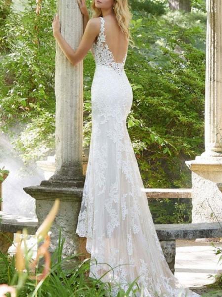 A-Line V Neck Watteau Train Lace Sleeveless Sexy Backless Wedding Dresses_2