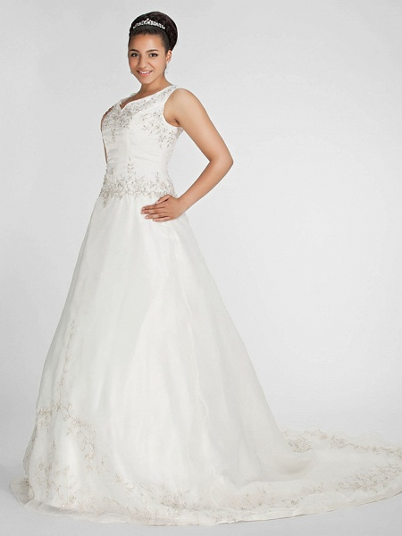 Ball Gown V Neck Court Train Organza Beaded Lace Regular Straps Formal Plus Size Wedding Dresses_4