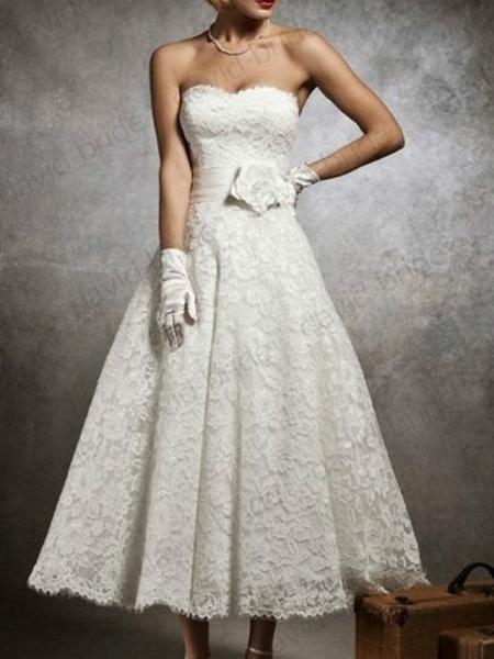 A-Line Wedding Dresses Strapless Tea Length Lace Sleeveless Formal Little White Dress_2