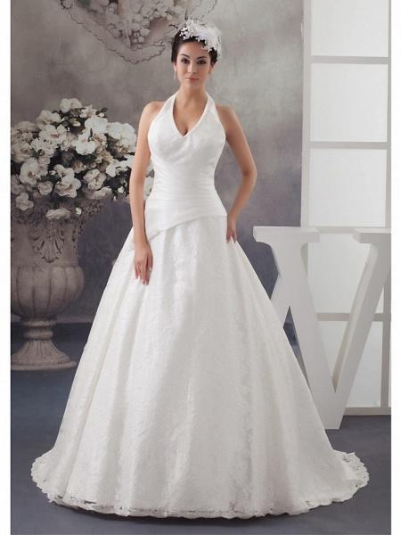 A-Line Halter Neck Court Train Lace Satin Spaghetti Strap Wedding Dresses_1