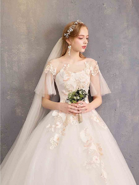 Ball Gown Wedding Dresses Bateau Neck Maxi Lace Tulle Short Sleeve Glamorous See-Through Backless_12
