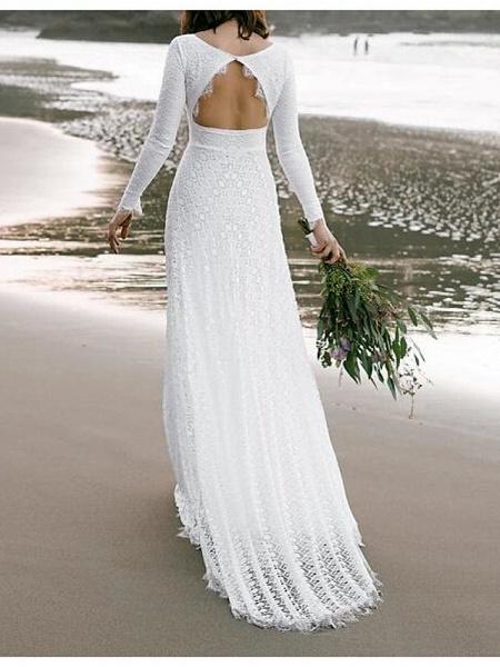 A-Line Wedding Dresses V Neck Sweep \ Brush Train Lace Long Sleeve Boho Sexy Backless_2