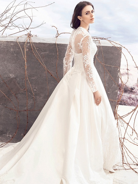 A-Line V Neck Chapel Train Lace Over Satin Long Sleeve Vintage Illusion Sleeve Wedding Dresses_3