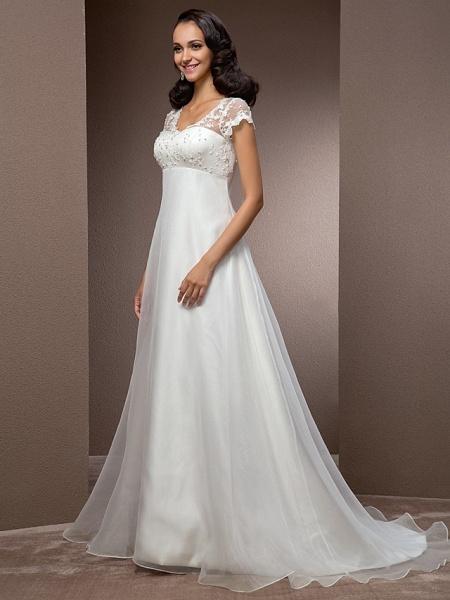 A-Line Wedding Dresses V Neck Court Train Lace Organza Short Sleeve Simple Vintage Little White Dress_4