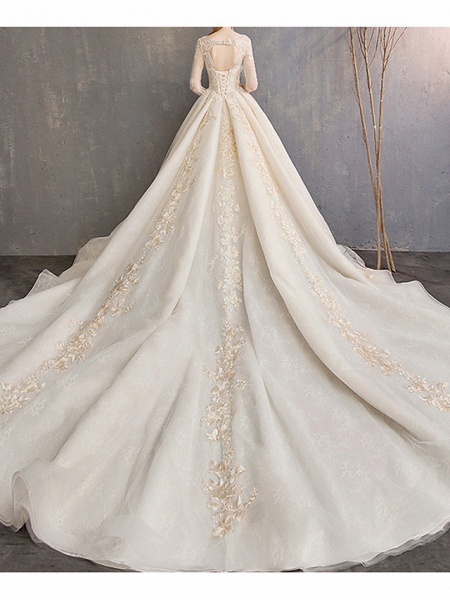 A-Line Wedding Dresses Jewel Neck Court Train Lace 3\4 Length Sleeve Glamorous Backless_3