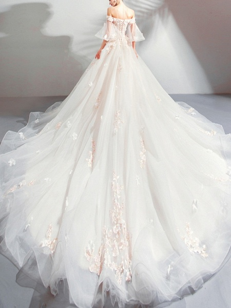 A-Line Wedding Dresses Off Shoulder Court Train Chiffon Tulle 3\4 Length Sleeve Formal Illusion Detail Plus Size_2
