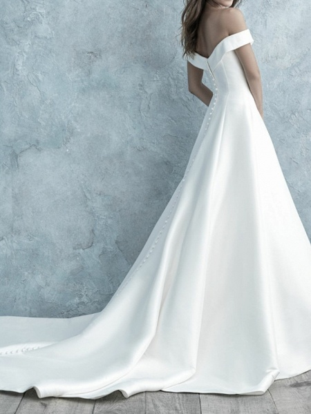 A-Line Wedding Dresses Off Shoulder Floor Length Satin Short Sleeve Simple Backless_2
