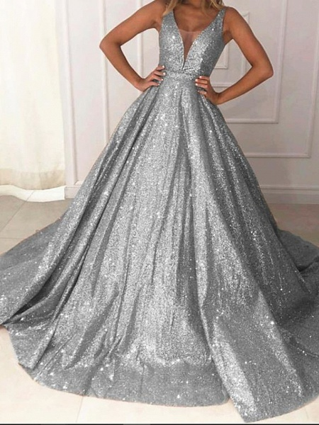 Ball Gown Luxurious Sparkle Quinceanera Prom Dress V Neck Sleeveless Sweep \ Brush Train Sequined_4