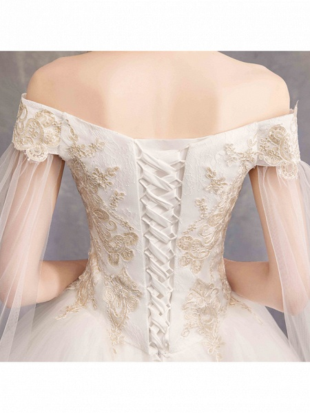 Ball Gown Wedding Dresses Off Shoulder Maxi Tulle Lace Over Satin Short Sleeve Glamorous Illusion Detail_7