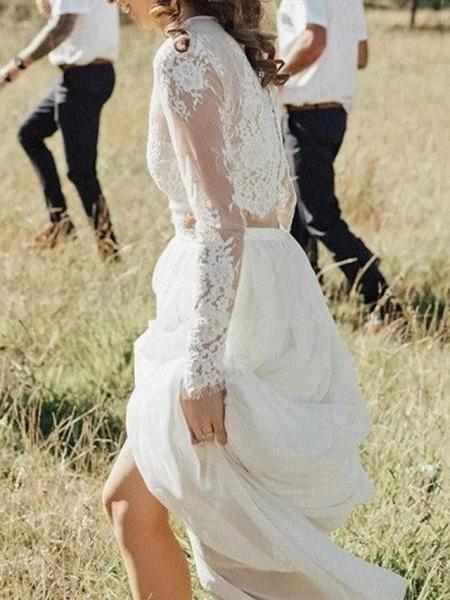 A-Line Wedding Dresses Jewel Neck Sweep \ Brush Train Lace Chiffon Over Satin Long Sleeve Beach Boho Sexy See-Through_2
