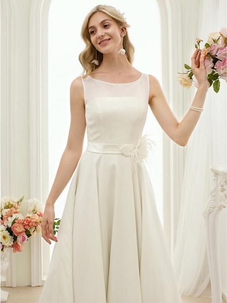 A-Line Wedding Dresses Bateau Neck Tea Length Chiffon Regular Straps Vintage Little White Dress 1950s_7