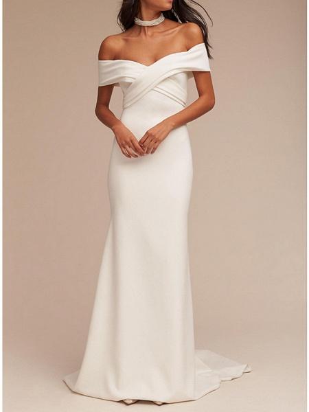 Mermaid \ Trumpet Wedding Dresses V Neck Sweep \ Brush Train Satin Regular Straps Formal Plus Size_1