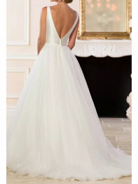 A-Line Wedding Dresses V Neck Sweep \ Brush Train Satin Tulle Regular Straps Simple Backless Elegant_2