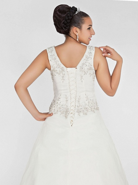 Ball Gown V Neck Court Train Organza Beaded Lace Regular Straps Formal Plus Size Wedding Dresses_7