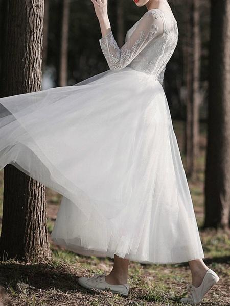 A-Line Wedding Dresses Jewel Neck Ankle Length Lace Tulle Long Sleeve Simple Little White Dress Elegant Illusion Sleeve_4