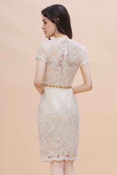 Tulle Lace Beads Belt Short Sleeves Mother of Bride Dress_3