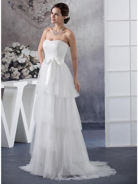 A-Line Wedding Dresses Strapless Sweep \ Brush Train Satin Tulle Strapless_2