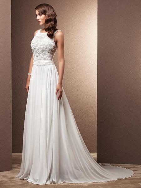 A-Line Wedding Dresses Scoop Neck Sweep \ Brush Train Chiffon Spaghetti Strap Formal_9