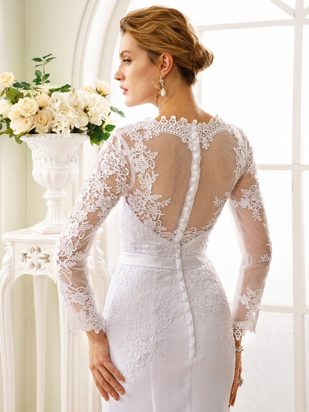 Mermaid \ Trumpet Wedding Dresses V Neck Court Train Chiffon Floral Lace Long Sleeve Sexy See-Through Backless Illusion Sleeve_5