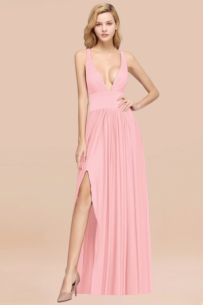 BM0141 A-Line V-Neck Sleeveless Long Ruffles Bridesmaid Dress_4