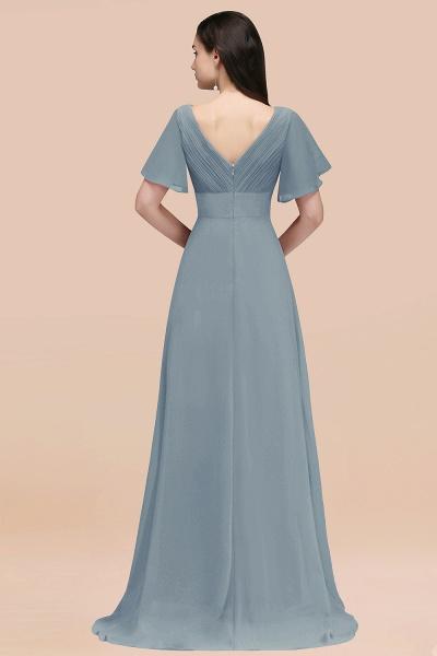 Simple A-Line Chiffon V-Neck Short-Sleeves Ruffles Floor-Length Bridesmaid Dresses_54