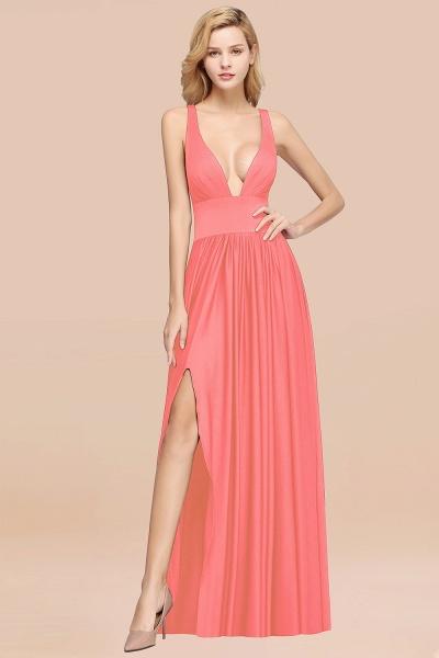 BM0141 A-Line V-Neck Sleeveless Long Ruffles Bridesmaid Dress_6