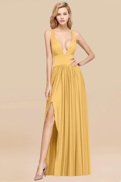 BM0141 A-Line V-Neck Sleeveless Long Ruffles Bridesmaid Dress_12