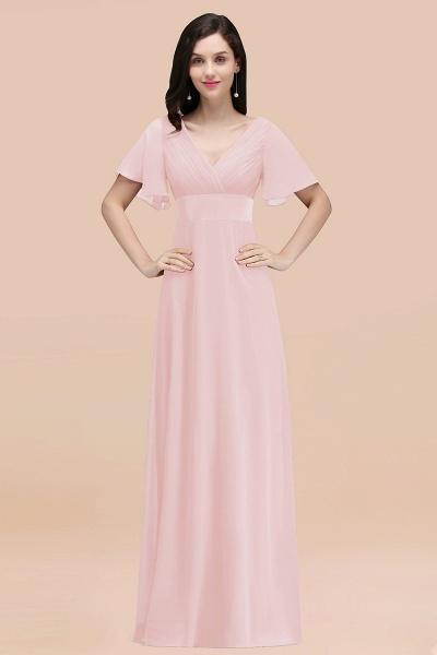 Simple A-Line Chiffon V-Neck Short-Sleeves Ruffles Floor-Length Bridesmaid Dresses_3