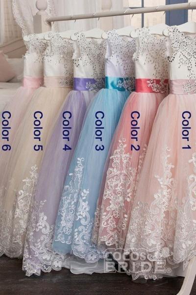 White Scoop Neck Sleeveless Ball Gown Flower Girls Dress_4