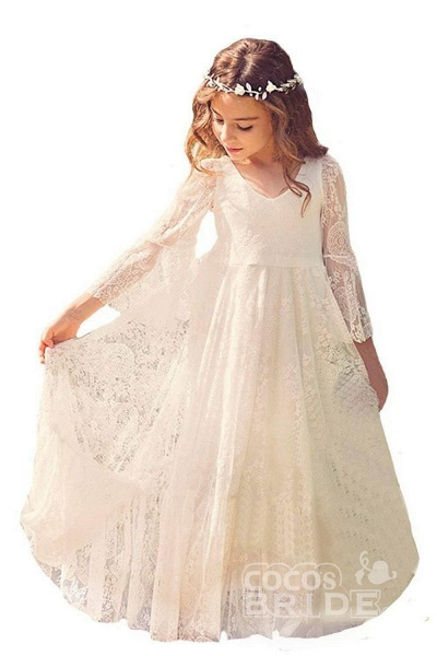 White Scoop Neck Long Sleeves Dress Flower Girls Dress_5