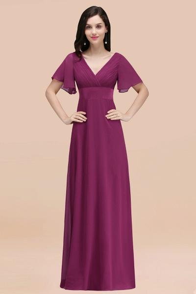 Simple A-Line Chiffon V-Neck Short-Sleeves Ruffles Floor-Length Bridesmaid Dresses_42