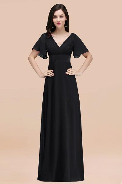 Simple A-Line Chiffon V-Neck Short-Sleeves Ruffles Floor-Length Bridesmaid Dresses_29