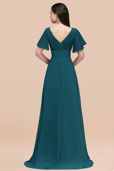 Simple A-Line Chiffon V-Neck Short-Sleeves Ruffles Floor-Length Bridesmaid Dresses_56