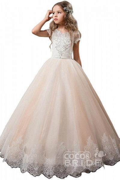 Light Pink Scoop Neck Short Sleeve Ball Gown Flower Girls Dress_3