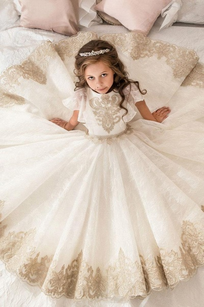 Scoop Neck Short Sleeves Ball Gown Flower Girls Dress