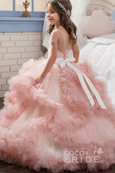 Violet Scoop Neck Short Sleeves Ball Gown Flower Girls Dress_6