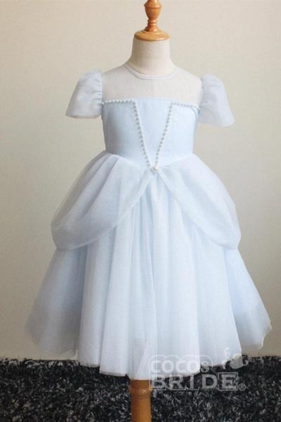 Light Blue Scoop Neck Short Sleeves Ball Gown Dress_6